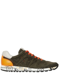 Premiata Sky Laser Perforated Suede Sneakers Military Green