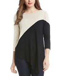 Karen Kane Color Block Tunic Top Oat Black