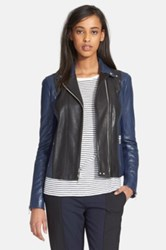 Vince Colorblock Leather Moto Jacket Black