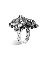 John Hardy Women's Sterling Silver Naga Lava Large Oval Double Dragon Head Ring With Black Sapphires And Ruby Eyes Silver Black