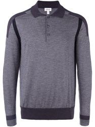 Brioni Sleeve Stripe Polo Shirt Grey