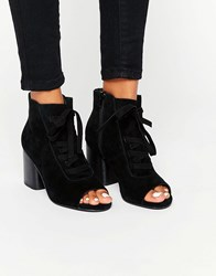 Asos Ressin Suede Lace Up Boots Black Suede