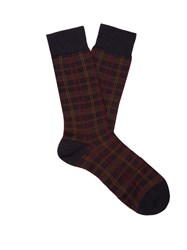 Pantherella Greenwich Tartan Wool Blend Socks Navy Multi