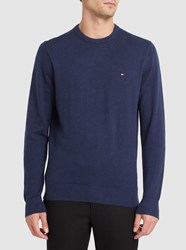 Tommy Hilfiger Navy Cotton And Cashmere Round Neck Sweater Blue