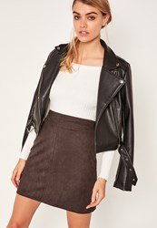 Missguided Brown Faux Suede Stitch Front A Line Mini Skirt