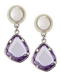 Majorica Faux Pearl Crystal Dangle Earrings Purple