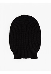 Rick Owens Black Oversized Wide Rib Knitted Hat