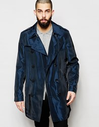 Asos Trench Coat In Two Tone Fabric In Navy Navy