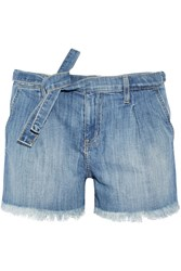 Current Elliott The Pleated Cut Off Stretch Denim Shorts Mid Denim