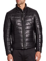 Saks Fifth Avenue Leather Puffer Jacket Black