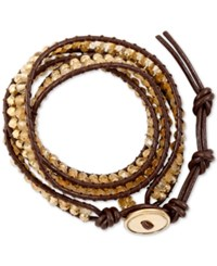 Lucky Brand Bead And Cord Wrap Bracelet Gold
