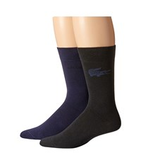 Lacoste Fine Jacquard Sock Navy Blue Black Men's Crew Cut Socks Shoes