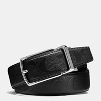Coach Modern Harness Cut To Size Reversible Signature Crossgrain Belt Black Black