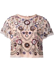 Needle And Thread Floral Embellished Cropped Blouse Pink And Purple