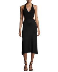 Cushnie Et Ochs Ribbed Lace Up Midi Halter Dress Black
