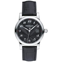 Montblanc 107314 Men's Star Date Automatic Stainless Steel Alligator Strap Watch Black