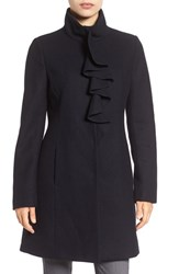 Tahari Women's 'Kate' Ruffle Collar Wool Blend Coat Galaxy