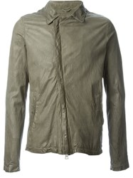 Giorgio Brato Zip Leather Jacket Green