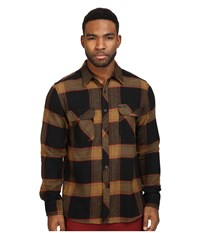 Brixton Bowery Long Sleeve Flannel Black Gold Men's Long Sleeve Button Up