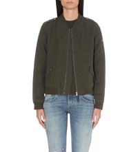 Paige Geena Cotton Blend Bomber Jacket Army