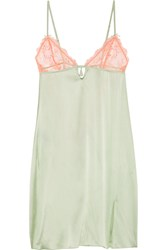 Heidi Klum Intimates Delicatesse Lace Trimmed Stretch Silk Satin Chemise Green