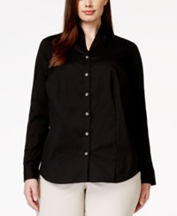 Charter Club Plus Size Button Down Blouse Only At Macy's Deep Black