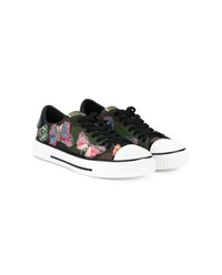 Valentino Butterfly Applique Camouflage Sneakers Multi Coloured White Black