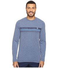 Travis Mathew Campa Heather Dark Denum Men's Long Sleeve Pullover Blue