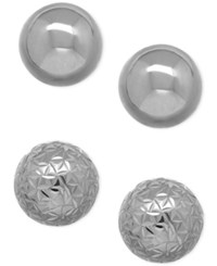 Macy's Polished And Crystal Cut Ball Stud Earring Set In 10K White Gold