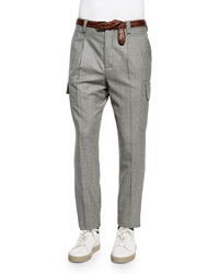 Brunello Cucinelli Slim Fit Wool Cargo Pants Gray