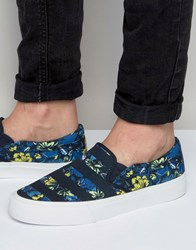 Asos Slip On Plimsolls In Navy Floral Print With Stripe Navy