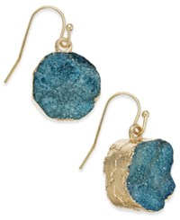 Inc International Concepts Gold Tone Druzy Crystal Earrings Only At Macy's Teal