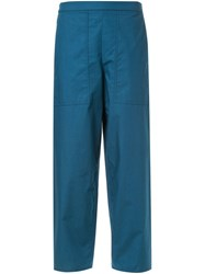 Christophe Lemaire Cropped Elasticated Trousers Blue