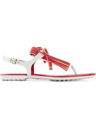 Tod's Fringed Flat Sandals Red