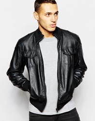 Barney's Barneys Faux Leather Bomber Jacket Black