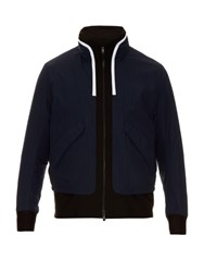 Tim Coppens Layered Hooded Bomber Jacket Navy Multi