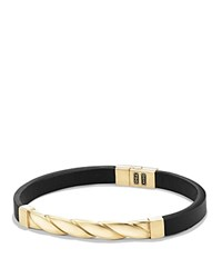 David Yurman Cable Classics Leather Id Bracelet With 18K Gold In Black Black Gold
