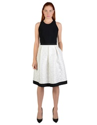 Carmen Marc Valvo Colorblock Pleated A Line Dress Black White