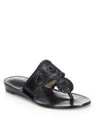 Jack Rogers Capri Leather Mid Wedge Sandals White Black