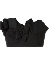 Caitlin Price Ruffle Zip Bandeau Black