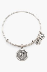 Women's Alex And Ani 'Initial' Adjustable Wire Bangle J Russian Silver