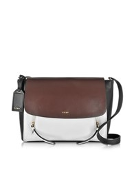 Dkny Greenwich Colorblock Smooth Leather Small Messenger Bag White