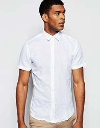United Colors Of Benetton Linen Short Sleeve Shirt White