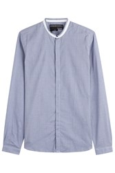The Kooples Collarless Cotton Shirt Blue