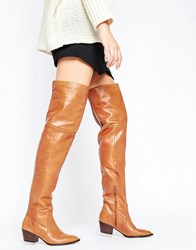 Aldo Deedee Western Leather Over The Knee Boots Cognac Tan