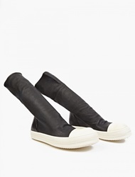 Rick Owens Black Leather Hi Top Sneaker Boots