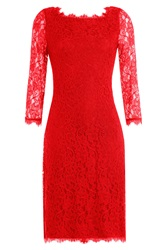 Diane Von Furstenberg Zarita Lace Dress Red