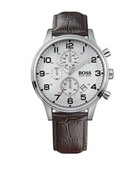 Hugo Boss Aeroliner Stainless Steel Brown Leather Strap Chronograph 1512447