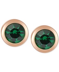 T Tahari Gold Tone Emerald Stone Stud Earrings
