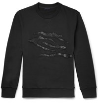 Lanvin Embellished Cotton Jersey Sweater Black